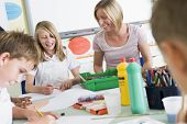 image of tweeny  - Students in art class with teacher - JPG