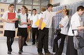 picture of hair integrations  - Secondary school students in a school hallway - JPG
