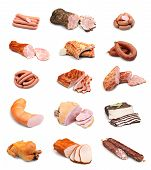 picture of raw chicken sausage  - Meat and sausage collection isolated on white background - JPG