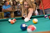 picture of hair integrations  - Woman playing pool - JPG