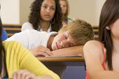 stock photo of misbehaving  - Student in class sleeping  - JPG