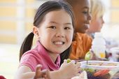 image of school lunch  - Students outdoors eating lunch  - JPG