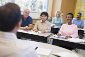 image of students classroom  - Adult students in class with teacher  - JPG