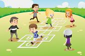 stock photo of hopscotch  - A vector illustration of kids playing hopscotch in the park - JPG