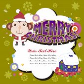 image of sock-monkey  - the vector with cute cartoon Xmas card - JPG