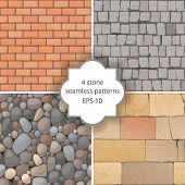 stock photo of cobblestone  - 4 highly detailed stone seamless patterns - JPG