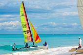VARADERO,CUBA-NOVEMBER 3:Tourists sailing on a catamaran November 3,2012 in Varadero.With over a mil