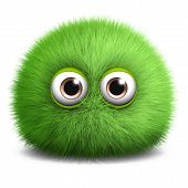 image of monsters  - 3 d cartoon cute green furry ball monster - JPG