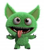 foto of hairy  - 3 d cartoon cute green gremlin monster - JPG