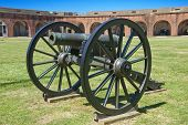 foto of emplacements  - A civil war era brass field howitzer at Fort Pulaski on the Savannah River Georgia - JPG