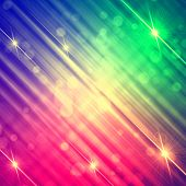 Abstract Motley Rainbow Background With Shining Lines And Stars
