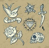 stock photo of pistol  - Set of Old School Tattoo Elements with roses and diamonds - JPG