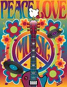 picture of hippies  - An illustration of a guitar peace symbol and dove dedicated to the Woodstock Music and Art Fair of 1969 - JPG