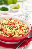 foto of tabouleh  - Fresh homemade Tabbouleh an Arabian vegetarian salad made of couscous tomato cucumber onion garlic parsley and lemon juice served in a red bowl (Selective Focus Focus one third into the tabbouleh)