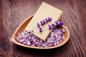 stock photo of salt-bowl  - natural soap and bowl of lavender bath salt  - JPG
