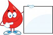 Red Blood Drop Character Showing A Blank Sign