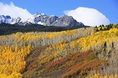 image of mear  - Mount Sneffels Range with fall color, Colorado, USA
