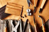 picture of leather tool  - Leather crafting tools still life - JPG