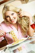 Happy Girl Eating Spaghetti poster