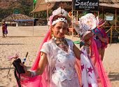 An Unidentified Woman Dances In The Bright Carnival Costume At The festival Arambol beach Goa India