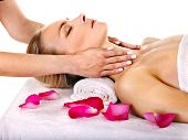 image of beauty parlour  - Woman getting facial  massage in beauty spa - JPG