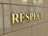 picture of chisel  - The word Respect is chiseled by gold letters on a stone wall - JPG
