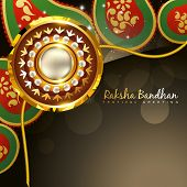 beautiful golden rakhi for hindu rakshabandhan festival