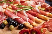 stock photo of antipasto  - Italian prosciutto di Parma - JPG