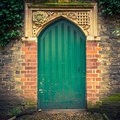 stock photo of english ivy  - Old door in Cambridge - JPG
