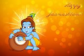 foto of lord krishna  - illustration of Lord Krishna stealing makhaan in Janmashtami - JPG