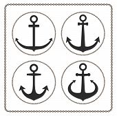 image of nautical equipment  - anchor black icon - JPG