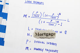 image of pronunciation  - Mortgage cutout newspaper with equation for loan payments - JPG