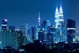 stock photo of kuala lumpur skyline  - Kuala Lumpur skyline at night - JPG