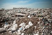 stock photo of discard  - Many of Garbage pollution Global warming - JPG