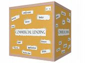 stock photo of lien  - Commercial Lending 3D cube Corkboard Word Concept with great terms such as lender lien bank and more - JPG