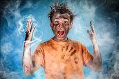 image of teen smoking  - Boy has a electric shock - JPG