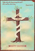 Religious Easter Poster - Vintage style religious Easter poster, with cross-shaped sprouting tree, q