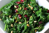 image of sauteed  - sauteed kale with cranberries and pine nuts - JPG