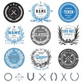 stock photo of laurel  - Vector vintage badge set - JPG