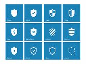 Shield icons on blue background.