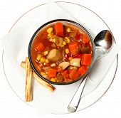 stock photo of maryland  - Chunky Maryland Style Crab Stew with bread sticks in bowl over white - JPG