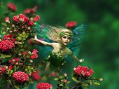 picture of butterfly-bush  - 3d computer graphics of a flying fairy with blond hair and butterfly wings - JPG