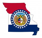 State of Missouri flag map isolated on a white background, U.S.A.