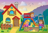 Children playing near house theme 1 - eps10 vector illustration.