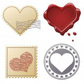 Valentine postage set with stamps and seals isolated on white background.
