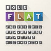 Bold Flat Font And Numbers In Square, Eps 10 Vector, Editable For Any Background, No Clipping Mask