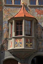 stock photo of stein  - Medieval balcony with fresco in Stein am Rhein - JPG