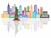 image of statue liberty  - New York City Skyline with Statue of Liberty Color with Reflection Illustration - JPG