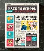 pic of newspaper  - Back to School Sales Promotional Design Template in Newspaper Journal style - JPG