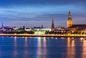 picture of cupola  - Skyline of Riga seen across the river Daugava after the sunset - JPG